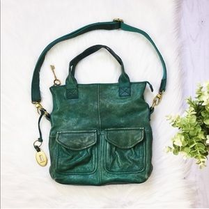 Fossil Green Teal Square Shoulder Pocket Purse